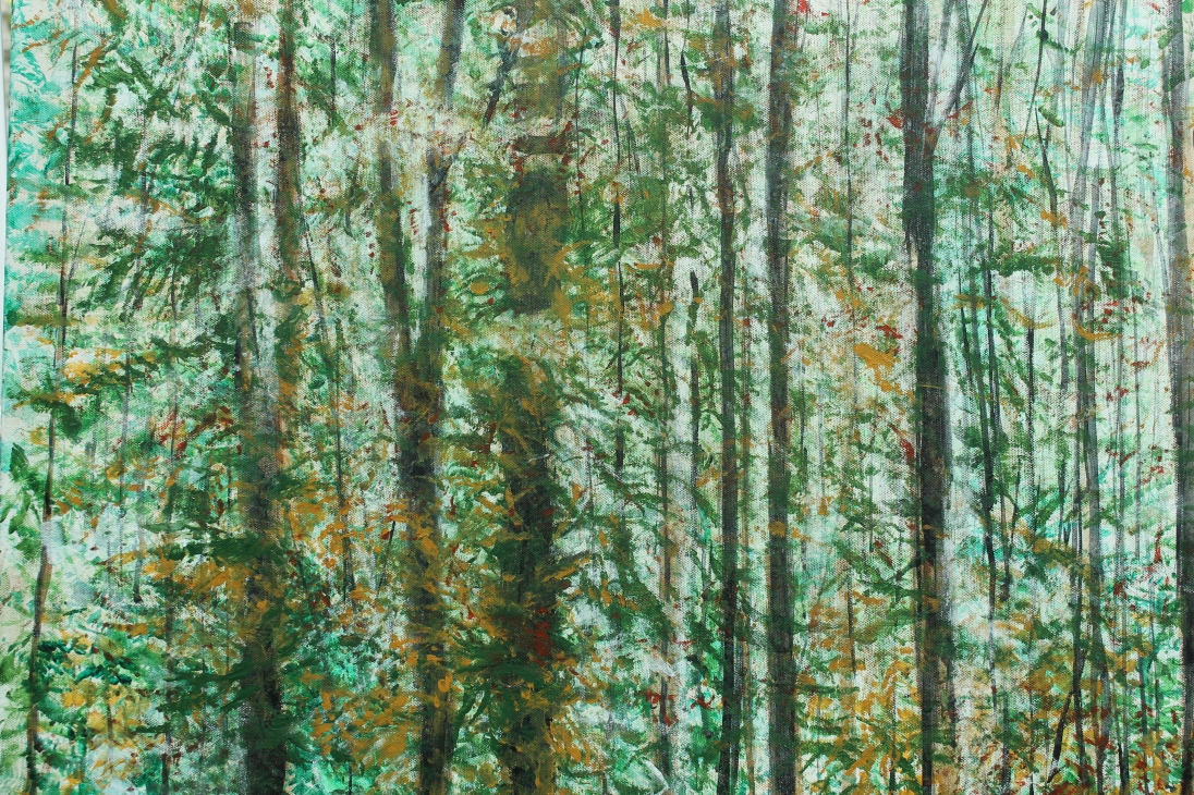 Woods at Hidcote Manor, England. H 59.5cm x W 79.5cm. Acrylic on canvas.