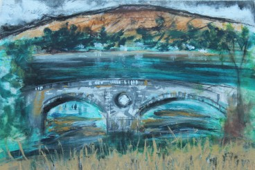 The painting I produced on Sky Landscape Artist of the Year 2018. Inveraray Castle, Scotland. Acrylic, Ink and charcoal on canvas. 45.5cm x61cm.