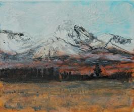 Mount Ruapehu, New-Zealand. Oil on board. H 25cm x W 30.5cm.