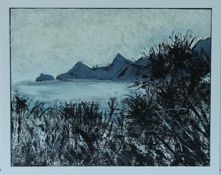 Manukau Heads, New-Zealand. Oil on canvas in a white wooden frame. H 25.5cm x 30.5cm.